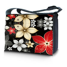 "17.3"" 17"" Laptop Notebook Padded Compartment Shoulder Messenger Bag Flowers Red"