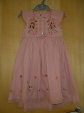 Girls NWOT 'Next' Lined Pale Pink Gypsy Boho Embroidered Dress 2-3 years Rrp £22