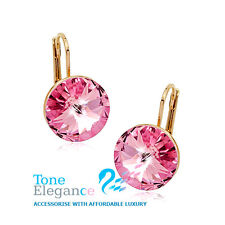 18k rose gold GF hoop womens solid ear ring earrings with simulated crystal
