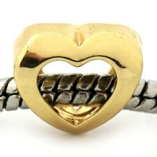 Open Center Heart Yellow Gold Plated Love Charm Gift fits European Bead Bracelet