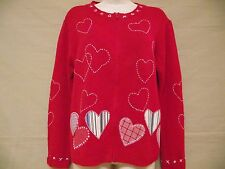 Coldwater Creek Red Heart Valentine Embroidered Applique Cardigan Sweater Sz M