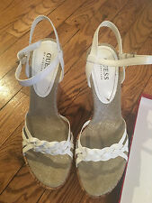 GUESS by Marciano White Leather *TINGLE* Wedge Sandals Sz 8.5 W/BOX