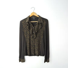 Max Mara weekend M button down animal print silk ruffle front knit back sleeves