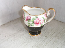 Salisbury China MIDNIGHT ROSE Creamer Bone China England Black & Pink Roses