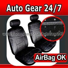 Black Velour Look Plush Car Front Seat Covers,Air BagOK