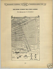 1906 PAPER AD 2 Sided Myers' Cushion Tire Store Ladder Library Fitting Diagram