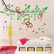 Jungle Monkey Tree Wall Sticker Vinyl Removable Nursery Kid Art Decor Room Decal