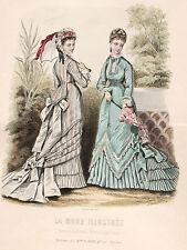 Fashion Magazine 1876 - ORIGINAL Holzstich Sonnenschirm Walking-Dress Spitzenhut