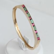 KABANA SOLID 14K GOLD GREEN & PINK TOURMALINE BANGLE BRACELET, 19.1 gms, EXC!