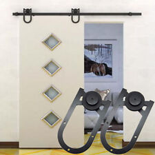 6 FT Black Country Steel Sliding Barn Door Hardware Kit Rustic Closet Wood Wall