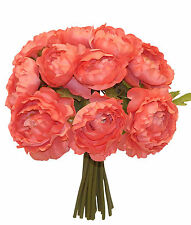 CORAL SALMON ~ RANUNCULUS Bouquet Silk Wedding Flowers Centerpieces Decorations