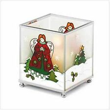 "Christmas Candleholder of glass, w- metal trim. 3 3/4"" x 3 3/4"" x 4 1/4"" square"
