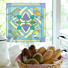 """SET 2 ART STAINED GLASS STICKERS WINDOW VINYL TILE DECALS HOME DECOR VITRAGE 9"""""""