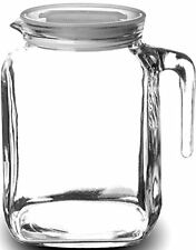Glass Pitcher With Hermetic Lid and Spout 68 Oz Juice Iced Tea Water Milk Jug