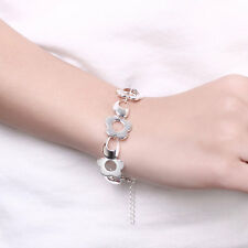 Sterling 925 Silver Flower Statement Bracelet Bangle Charm Chain Cuff Jewelry