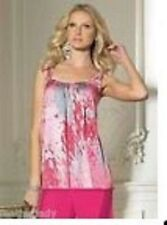 TOGETHER PINK PRINT LOOSE FIT SATIN PEARL DETAIL SUN TOP SIZE  12 & 14