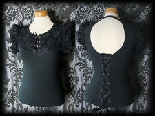 Gothic Black Fitted Lace Up LIBERTINE Open Back Corset Top 6 8 Victorian Vintage