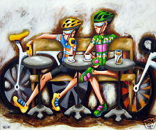 New Canvas Art Print Cycle Series by Andy Baker Bald Art Bikes Coffee Art