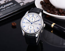 43mm Parnis Power Reserve Blue Marks mechanical Automatic Mens Watch 48
