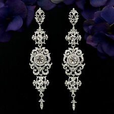 Rhodium Plated Clear Crystal Rhinestone Chandelier Drop Dangle Earrings 06136