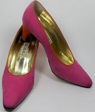 ESCADA Vintage Shoes Pumps 7 37 Heels Pink Orange Suede Hapachico Couture