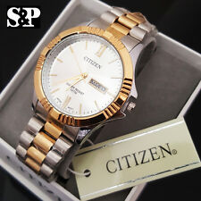 Men Luxury Citizen Stainless Steel Analog Two Tone Round Metal Band Dress Watch
