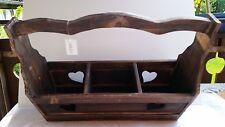 Holzkorb Dekoration Holzkiste mit Griff Pflanzbox Aufbewahrung Landhaus Neu