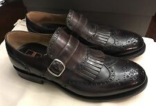 NIB $765 O'Keeffe Algy Bravo Leather Monk Strap Brogues - Brown UK 7