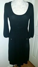 Lilly Pulitzer Black Sweater Dress Medium Merino Wool Knit Pockets 3/4 sleeves