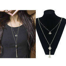 Women Long Double Layers Tassels Pendant Silver Sweater Chain Necklace Acc