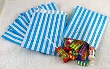 "100 Light Blue & White Candy Stripe Paper Sweet Bags Wedding 5""X 7"" Pick 'n' Mix"
