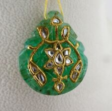 OLD ANTIQUE 74CTS NATURAL ZAMBIAN EMERALD CARVED GEMSTONE PENDANT IN 22KGOLD