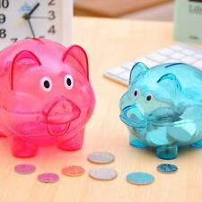Small Plastic Transparent Cute Pig Shape Money Saving Box Case Coins Piggy Bank