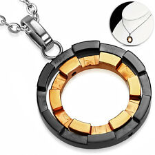 """Three-Tone Stainless Steel Fancy Circle Charm Pendant Necklace - 17"""""""
