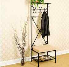 Hall Tree Coat Rack With Bench Entryway Shoe Seat Hooks Storage Shelves Black