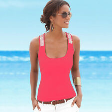Summer Women's Sequin Vest Tops Sleeveless Blouse Ladies Casual Tank T-Shirt Top