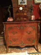 French Vintage Louis XV Bombe Canted Ormolu Mounted Commode Chest Drawers