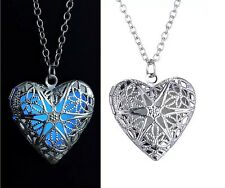 Light Of Your Love Silver Locket Pendant Chain Glow In The Dark Luminous Jewelry