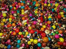 50g Wooden Beads SUPER MIX Assorted Shapes Sizes Colors MIXED School Craft