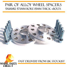 Wheel Spacers 15mm (2) Spacer Kit 5x100 57.1 +Bolts for VW Golf [Mk4] 97-05