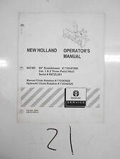 "New Holland 84CSR 84"" Snowblower 3 POINT HITCH Operator's Manual 87678500  6/08"