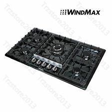 "WindMax 34""  Black Titanium Stainless Steel 5 Burner Built-In Stove Gas Cooktop"