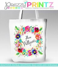 PERSONALISED FLORAL WREATH MRS MARRIED WEDDING BRIDE TOTE SHOPPING BAG GIFT LOVE