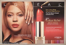 Beyonce for L'Oreal Lipcolour Lipstick Cosmetics 2-Page PRINT AD - 2009