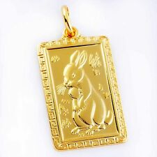 Chinese Zodiac Hare Amulet Pendant 24K Gold Plated,P0435