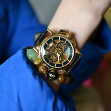 Retro Bronze Mens Steampunk Skeleton Hand-winding Mechanical Dress Wrist Watch