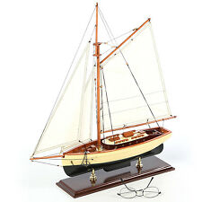 "1930's Classic Sailboat Assembled Small 22"" Built Wooden Authentic Models Yacht"