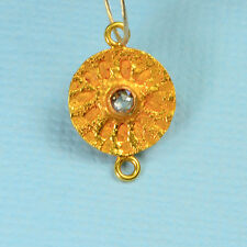 18k Solid Yellow Gold Champagne Diamond Sand Dollar Intaglio Connector Pendant