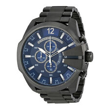 Diesel  Mega Chief Chronograph Blue Dial Gunmetal Ion-plated Mens Watch DZ4329