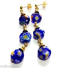 Long 3 Bead Blue Earrings Millefiori Glass Gold Studs